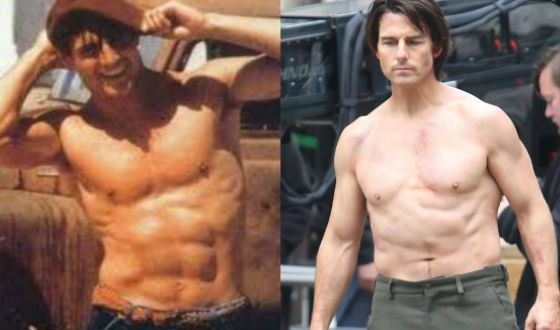 Tom Cruise in his youth and nowadays