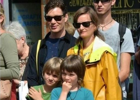 Cillian Murphy with his wife and sons
