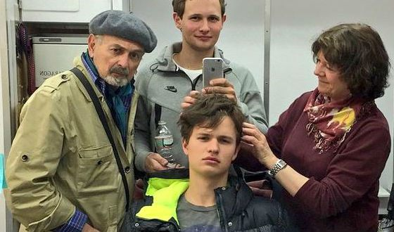 Ansel Elgort on the set of «November criminals»