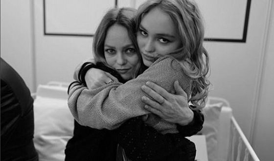 Lily-Rose Melody Depp with Vanessa Paradis
