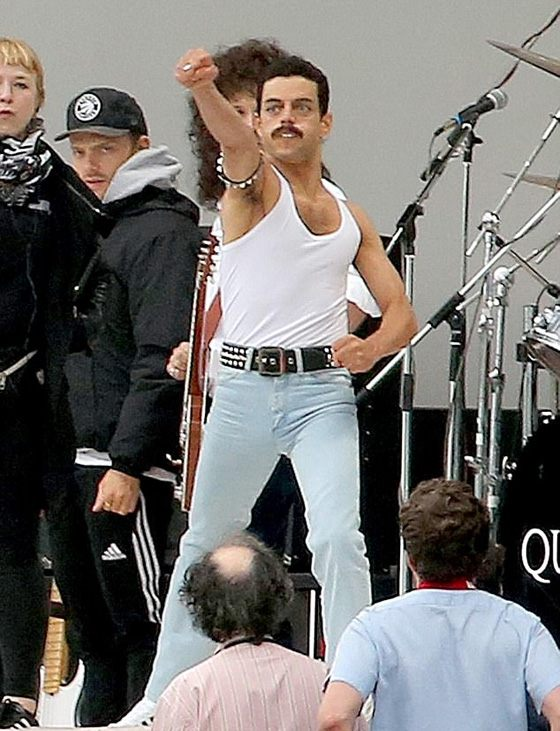 Rami Malek on the set of «Bohemian Rhapsodies»