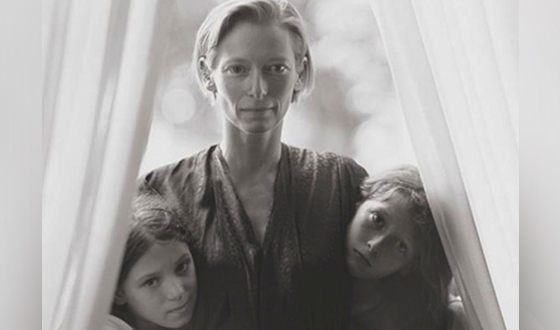 Tilda Swinton with children