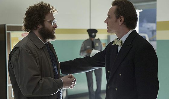 Seth Rogen and Michael Fassbender in the movie Steve Jobs