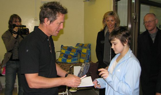 Hugh Grant at the Moscow Cancer Center
