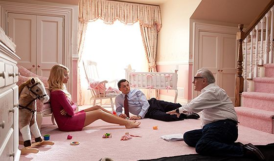 Margot Robbie, Leonardo DiCaprio, and Martin Leonardo DiCaprio on the Set of The Wolf of Wall Street