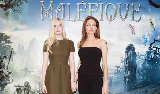 Elle Fanning with Angelina Jolie