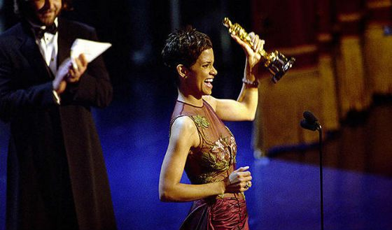 Halle Berry receiving Academy Award for her performance in Monster's Ball