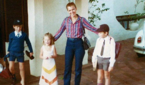 Little Elon (on the right) with his mother, brother and sister