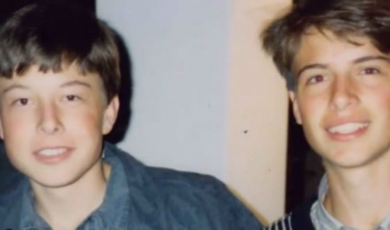 In his youth, Elon Musk (on the left) was a shy child