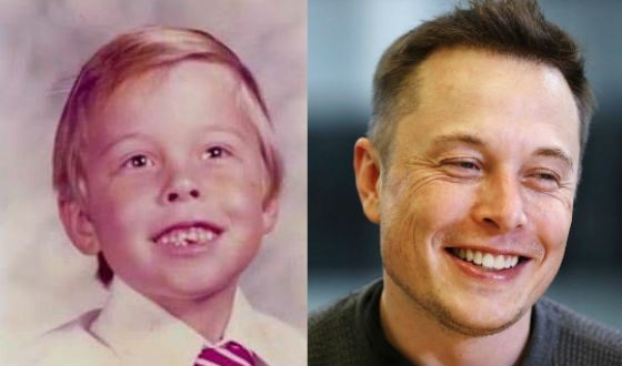 Elon Musk in childhood and now