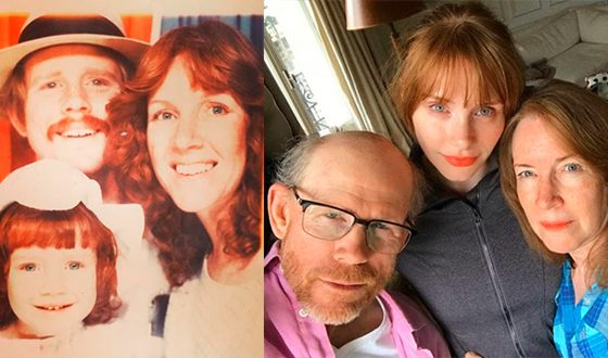 Bryce Howard with her parents now and as a child