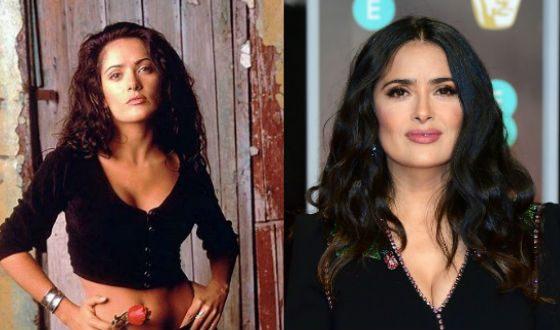 Salma Hayek back in her youth and nowadays