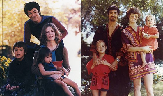 Bruce Lee with his family