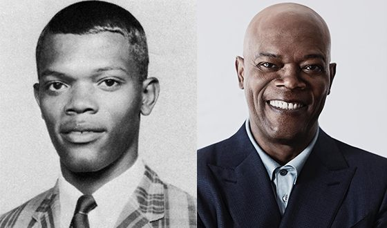 Samuel L. Jackson in his early life and nowadays