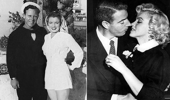Marilyn Monroe and her former husbands: James Dougherty (left) and Joe DiMaggio (right)