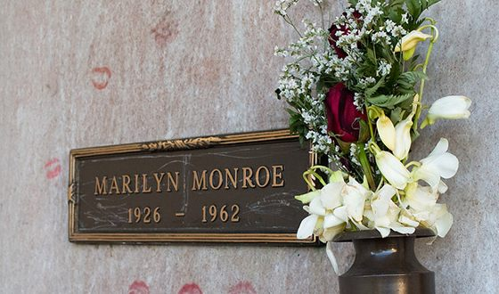 Marilyn Monroe is buried in a crypt at Westwood Village Memorial Park Cemetery in Los-Angeles