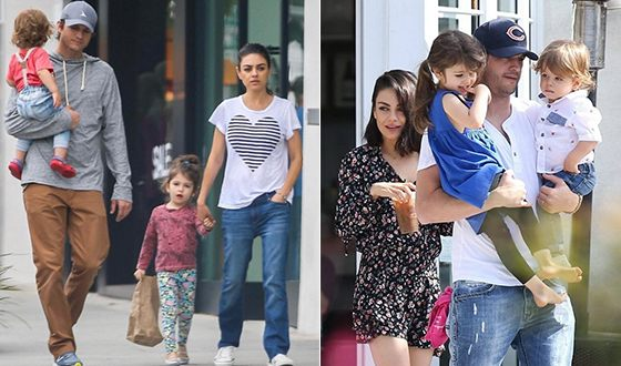 Ashton Kutcher with his wife and children
