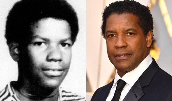 Denzel Washington in his childhood and now