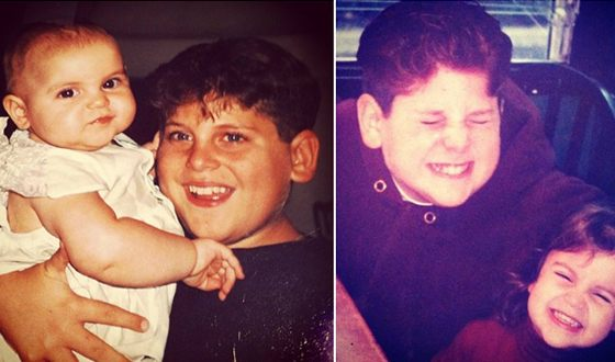 Jonah Hill with his sister as children