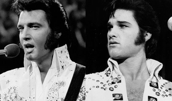 Elvis Presley (left) and Kurt Russell (right)