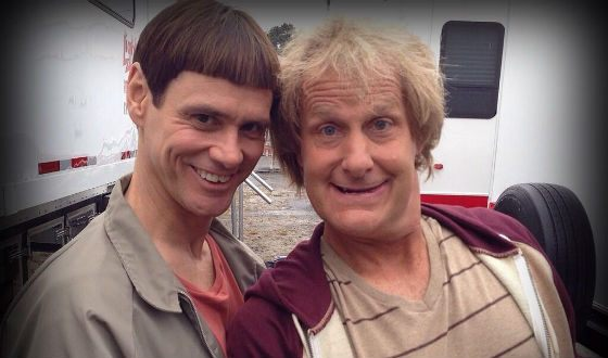 Jim Carey and Jeff Daniels on the set of the Dumb and Dumber
