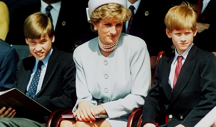 Lady Diana with William and Harry