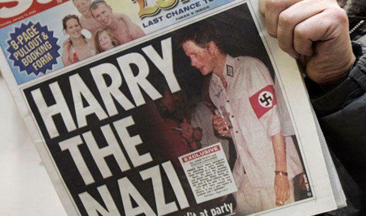 A picture of Prince Harry's swastika outfit made the papers