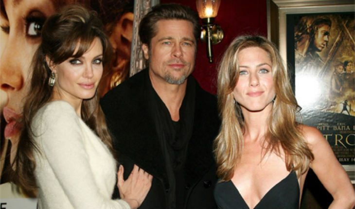 Joint photo of Jolie, Pitt and Aniston
