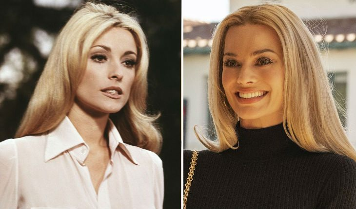 The real Sharon Tate and Margot Robbie in Once upon a time in Hollywood