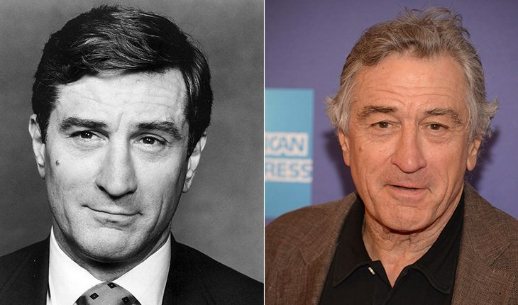 Robert De Niro in his youth and now