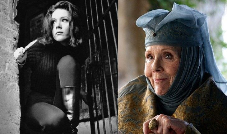 Diana Rigg in her youth and now