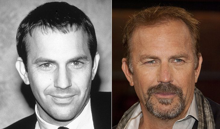 Kevin Costner then and now