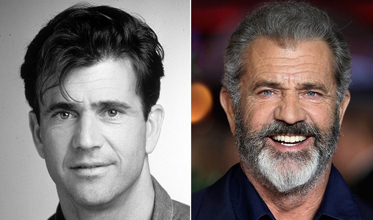 Mel Gibson then and now