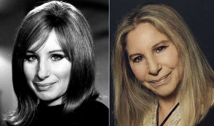 Barbra Streisand then and now