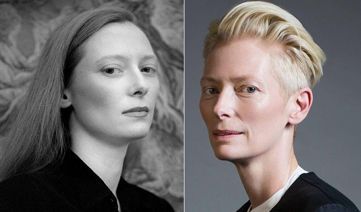 Tilda Swinton then and now