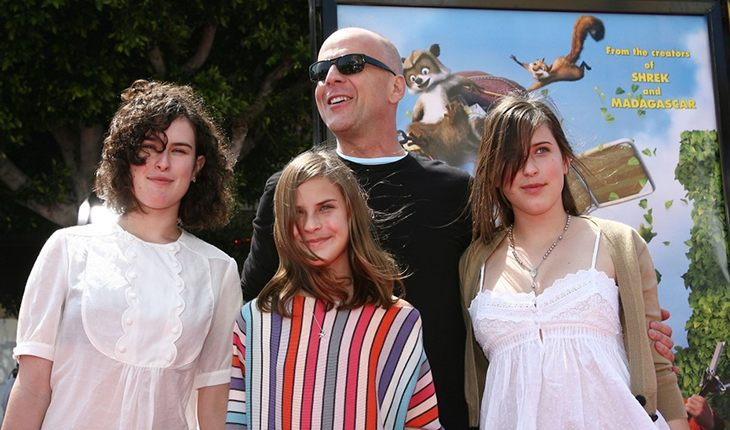 Bruce Willis and his three daughters from his first marriage with Demi Moore