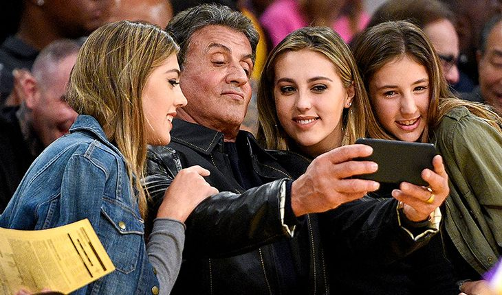 Sylvester Stallone and his three daughters Sophia, Sistin and Scarlet