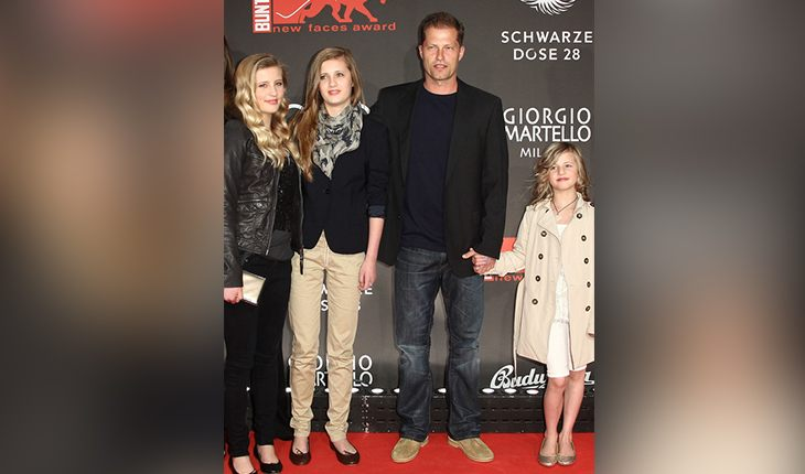Til Schweiger and his three daughters Luna Marie, Lilly Camille and Emma Teager