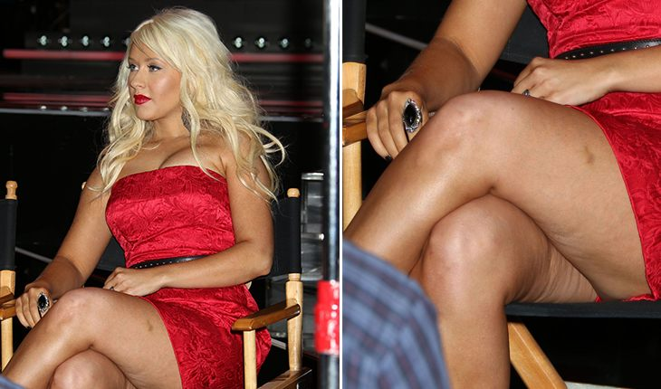 Cellulite on the legs of Christina Aguilera
