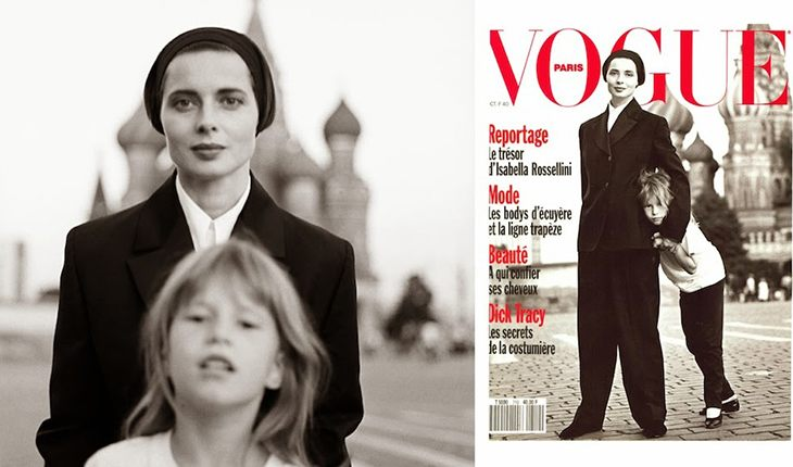 Isabella Rossellini with her daughter. Vogue cover captured on the Red Square (1990)