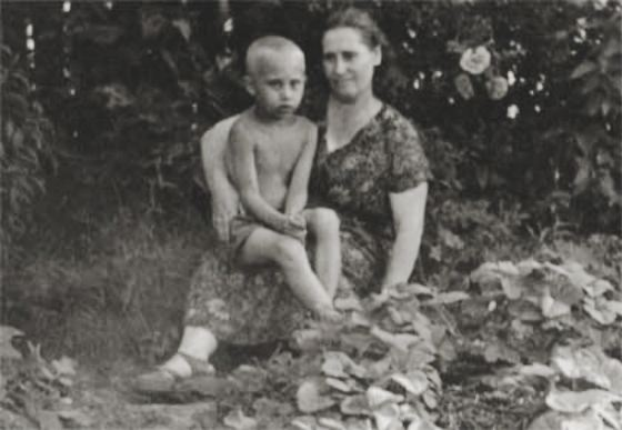 Vladimir Putin with his mother
