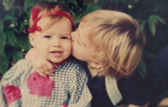 Margot Robbie in childhood (with older brother)