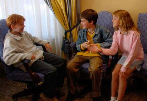 Daniel Radcliffe, Emma Watson, and Rupert Grint first meet