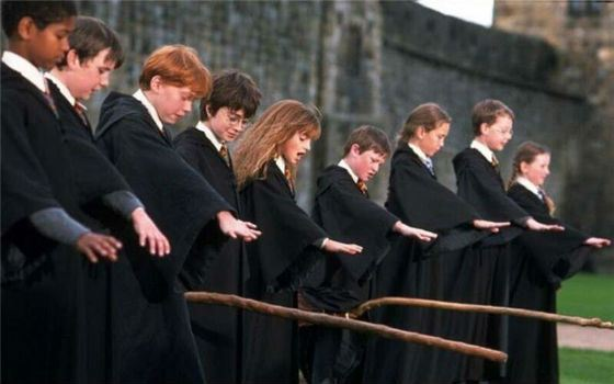 Harry Potter taming a broom