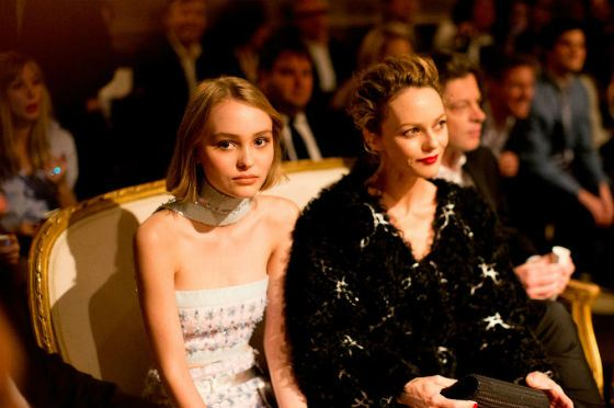 Lily-Rose Depp with her mother Vanessa Paradis