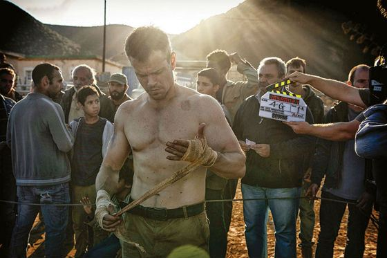 Matt Damon on the set of «Bourne»