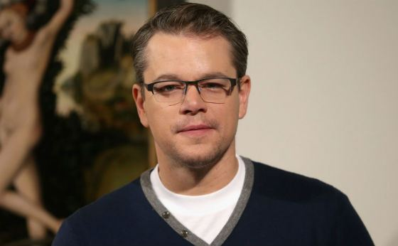 Matt Damon wearing glasses
